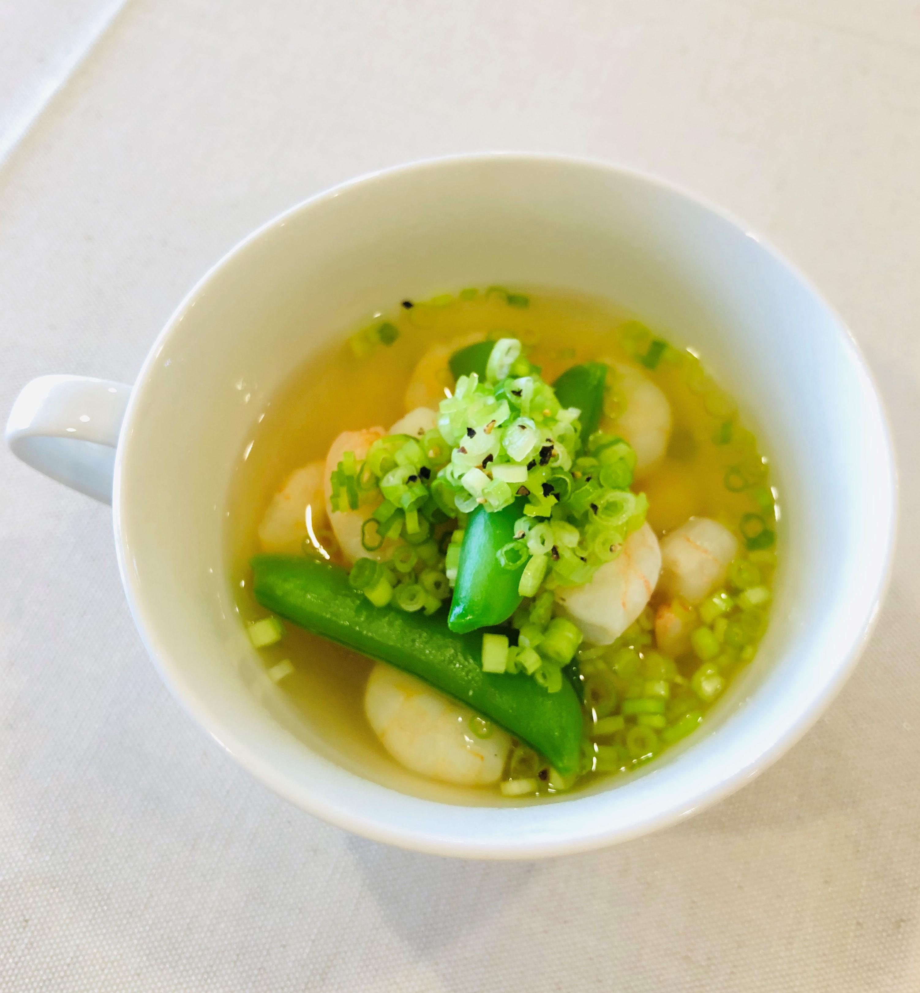スナップえんどうとエビのスープ|イメージ